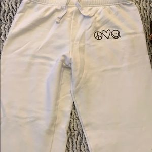 Peace love world white sweatpants size large